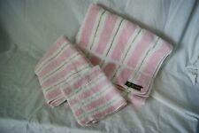 Three-Piece Mid Century Fieldcrest Towel Set - Pink & White With Gold Stripe