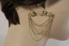 Women Gold Metal Western Fashion Earrings Set Double Side Angel Wings Love Heart