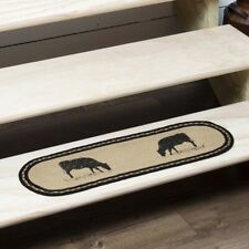VHC Brands Sawyer Mill Farmhouse Charcoal Jute Cow Stair Tread Oval Latex 8.5x27