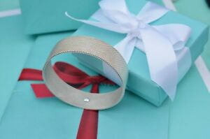 Tiffany & Co Silver Somerset Wide Mesh Firm Bangle Bracelet w/ Box & Pouch RARE!