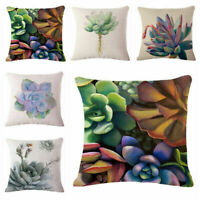 Succulent Plants Linen Cotton Throw Pillow Case Cushion Cover Home Sofa Decor