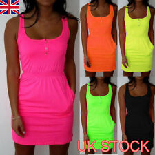 UK Women Sleeveless Fluorescence Neon Vest Dress Party Beach Slim Mini Sundress