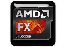 "AMD FX Series ""Unlocked"" 1""x1"" Chrome Domed Case Badge / Sticker Logo"