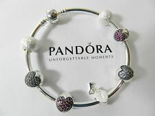 Authentic Pandora  Bangle Bracelet & 925 Sterling Silver Charms ,8""