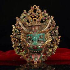 Tibetan Buddhism hand-built gemstones Monster head Oil lamp Candlestick