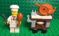 Lego New Complete Turkey Cart Trolley With Cream Pie,chef Cook Mini Figure,knife