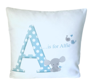 """Personalised Baby Boy Initial - 16"""" white cushion cover boy nursery gift"""
