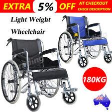 "24"" Folding Lightweight Transport Wheelchair Park Brakes Armrests Mobility Aid"