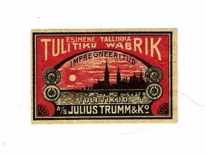 1 Old Esthonia Tallinna c1930s matchbox label Noudke Ainult size 55x35mm