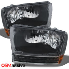 1999-2004 Ford F250 F350 Superduty Excursion Black Headlights w/Bumper Signal