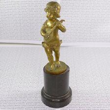 Iffland, Franz - Mädchenskulptur mit Laute Goldfarbene Bronze H.14 bzw. 21,5 cm