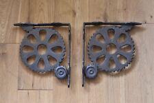 Par De Gran Vintage Industrial Máquina COG Soportes Estante De Pared Soporte AL40