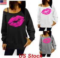 Womens Lip Print Pullover Jumper Tops One Shoulder Long Sleeve Blouse Shirt  USA