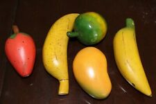 Vintage 5 Wooden Carved Colored Fruit Rustic Farm House Decor
