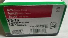 100 Pc Whiz Lock Nuts Coarse Thread 3/8 - 16 Zinc Plated Steel Hot Deal!