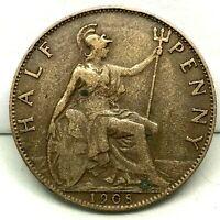1908 GREAT BRITAIN ,EDWARD VII (1/2) HALF PENNY, BRONZE COIN - KM# 793.2