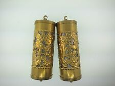 Set of 2 Fancy Brass Perorated Vienna Clock Weight Shells with weight Inserts