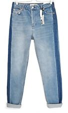 Ladies Womens NEW Topshop MOM High Rise Blue Tapered Ankle Jeans Size 12 W30 L32