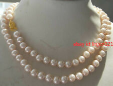 New Real 8mm Pink South Sea Shell Pearl Necklace 36'' AAA