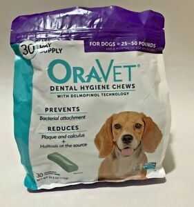 Oravet Dental Hygiene Chews for Dogs 25-50 lbs 30 Small Cut on the Bag Exp 04/21