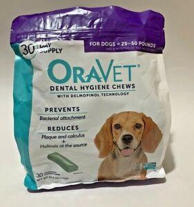 Oravet Dental Hygiene Chews for Dogs 25-50 lbs 30 Chews Exp 02/23/21