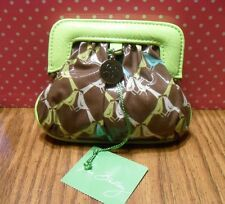 Vera Bradley Frill Charmed Coin Pouch Brown Lime Sittin' In a Tree NEW