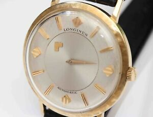 14K Gold vintage LONGINES 1200 AUTOMATIC MYSTERY DIAL Mens Wristwatch, c.1959