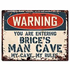 PP4177 WARNING BRICE'S MAN CAVE Chic Sign Home man cave Decor Funny Gift