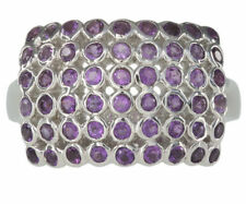 Round Natural Amethyst Sterling Silver Fine Rings