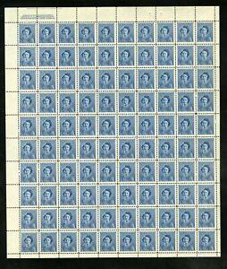 CANADA SHEET - Scott 276 - NH - UL Plate 2 - 4¢ Blue Princess Elizabeth (.040)