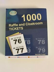 Raffle Cloakroom Tickets 1-1000 Book Tombola Draw Numbered Different Colours