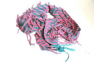 Unisex Pink/Teal Green Check Neck Warmer Face Covering Scarf Large Square Tassel