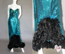vtg SEQUIN drag queen SHOW GIRL feathers STRAPLESS maxi PAGEANT dress GOWN