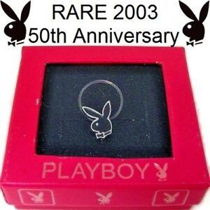 RARE 2003 50TH ANNIVERSARY Playboy Toe Ring Bunny Black Enamel Stretch Band NOS