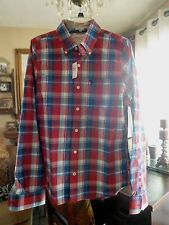 NWT ..ABERCROMBIE & F .. Men's Plaid Summer Shirt .. Size M    Red / Blue