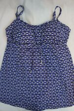 Swim Solutions Swimdress Sz 12 Blue Multi Jewels Empire 1 Piece Swimsuit 513598