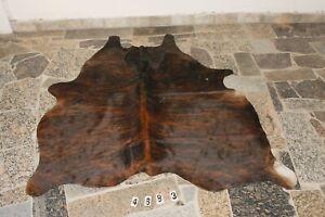 BRINDLE EXOTIC-  Rug HAIR ON SKIN  Leather Cowhide Rug  4683-   69'' x  64''