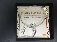 Alex and Ani Crystal Wing Charm Bangle Bracelet - Shiny Silver Finish
