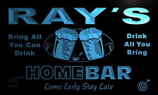p132-b Ray's Personalized Home Bar Beer Family Name Neon Light Sign