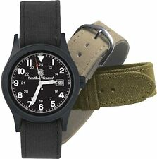 Smith & Wesson Military Watch Set w/Black face w/3 canvas straps 4321 Rothco