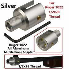 Aluminum Ruger 1022 10-22 Muzzle Brake Adapter 1/2x28 Thread,Silver Finished