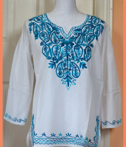 Teal Embroidered Paisley White Color Cotton Tunic Top Kurti from India Medium