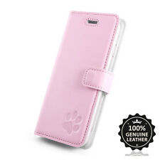 Premium Echtes Ledertasche Schutzhülle Pastel Wallet Flip Case - Motiv Pfote