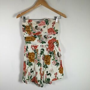 Forever New womens playsuit romper size 10 white floral strapless sleeveless