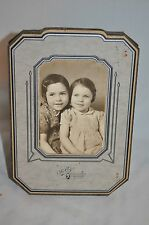 5 1/2 X 4 BLACK WHITE Dark haired sisters girl  beauty picture  photo