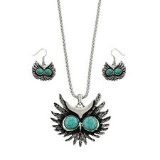 "Owl Fashionable Gemstone Necklace & Earrings Set - Fish Hook - 18"" Chain"