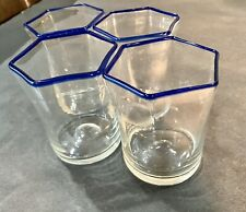 Rare Vintage Cobalt Blue Hexagon Drinking Glasses Set Of 4