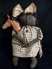 Pattern,Primitive black doll, folk art,16 in. & stick pony, by Dumplinragamuffin