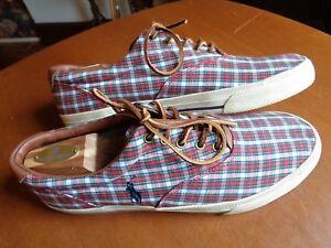 Polo by Ralph Lauren Vaughn Madras Red Plaid Cotton Sneakers  Men's Size 11.5 D