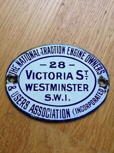 Small Antique Enamel The National Traction Engine Owners & Users Association...